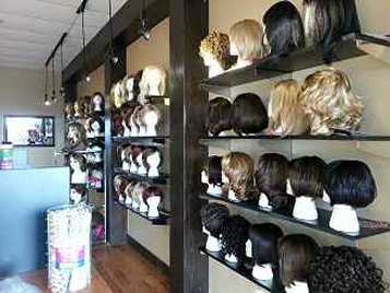 A shot of some of the wigs on display